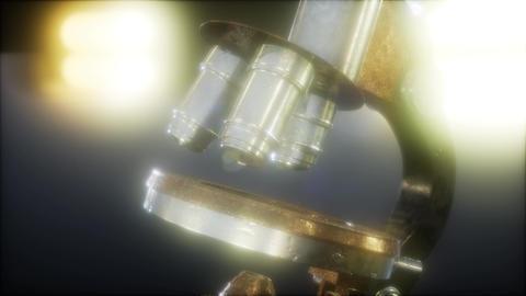 Retro old scientific laboratory microscope Footage