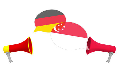 Speech bubbles with flags of Singapore and Germany. Intercultural dialogue or Live Action