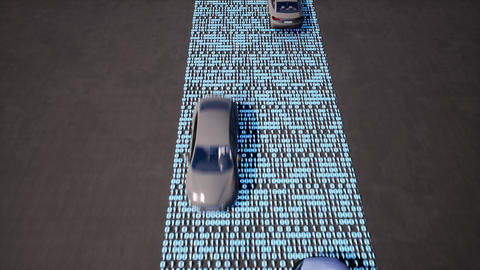 Vehicles driving on binary code highway animation Live Action