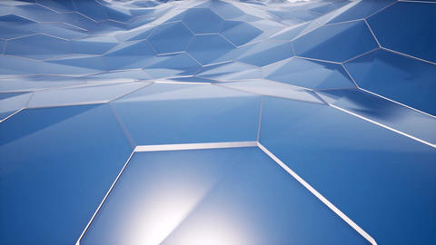 Hexagonal shapes blue surface motion seamless animation Footage