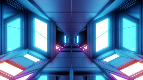 futuristic scifi technic space hangar tunnel corridor 3d illustration live Animation