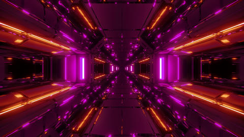 futuristic fantasy scifi space galaxy tunnel corridor with glass windows 3d Animation