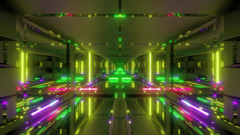 clean futuristic scifi space tunnel corridor with glass windows and bottom 3d Animation