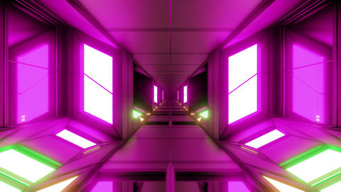 futuristic scifi technic space hangar tunnel corridor 3d illustration live Animation