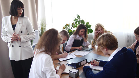 Businesswoman at the meeting. Female boss communicates with her young team of Footage