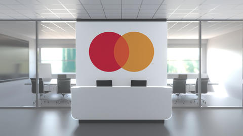MASTERCARD logo above reception desk in the modern office, editorial conceptual Live Action