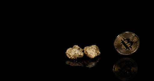 gold Nuggets and Bitcoins on Black Background, slow motion 4K Footage