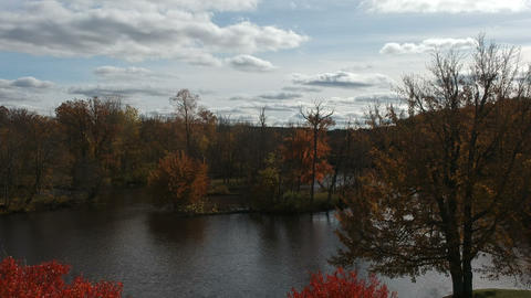 Scenic River During Fall Season in Michigan (Version #4) Stock Video Footage