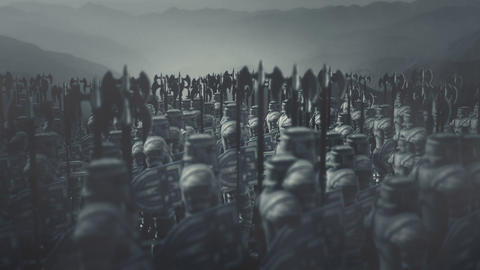 Big Army of Medieval Warriors Holding Axes Archivo
