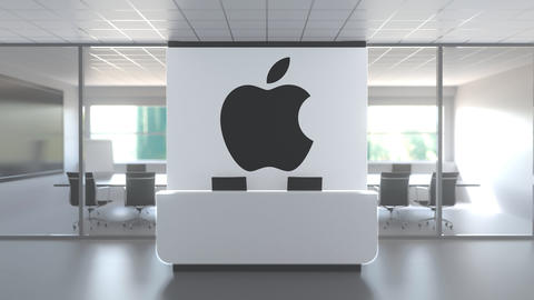 Logo of APPLE INC on a wall in the modern office, editorial conceptual 3D Live Action