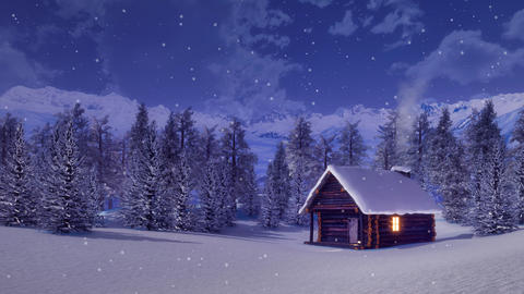 Solitary mountain cabin at snowfall winter night Animation