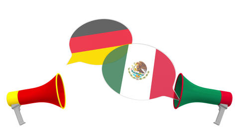 Speech bubbles with flags of Mexico and Germany and loudspeakers. Intercultural Live Action