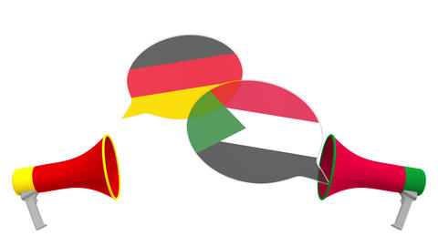 Speech bubbles with flags of Sudan and Germany and loudspeakers. Intercultural Live Action