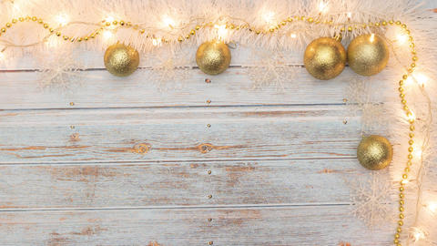 Blinking lights on beautiful gold and white Christmas decoration Animation