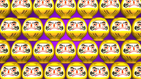 Stacking Yellow Lucky Daruma Dolls On Purple Background Videos animados