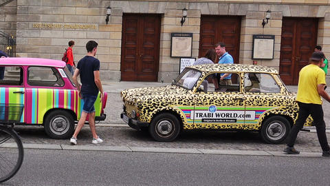 Trabant in Berlin. Trabi. Germany Live Action