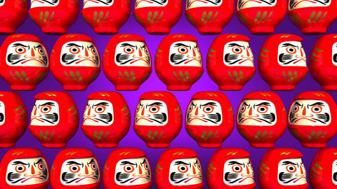 Spinning Red Daruma Dolls On Purple Background Videos animados