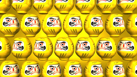 Spinning Yellow Daruma Dolls On Yellow Background Animation