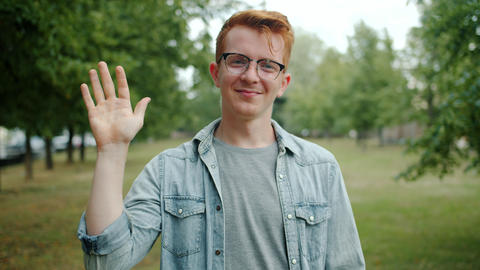Portrait of attractive guy waving hand greeting people and smiling in green park Footage