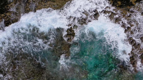 Top view of a deserted coast. Rocky shore of the island of Tenerife. Aerial Footage