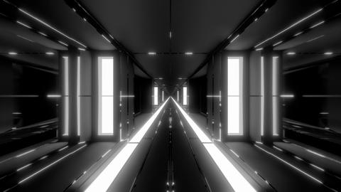 clean futuristic scifi tunnel corridor with glass windows and endless hot metal Animation