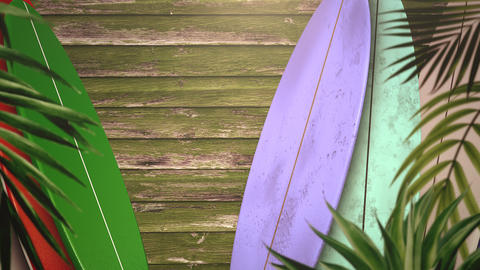 [alt video] Closeup surfing boards and tropical leaves, summer...
