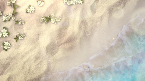 Closeup sandy beach with blue waves of ocean and flowers,... 動画素材, ムービー映像素材