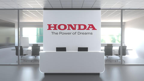 HONDA logo above reception desk in the modern office, editorial conceptual 3D Live Action