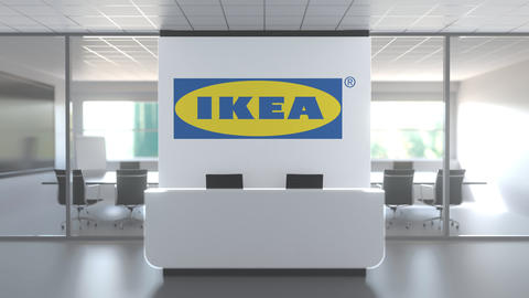 IKEA logo above reception desk in the modern office, editorial conceptual 3D Live Action