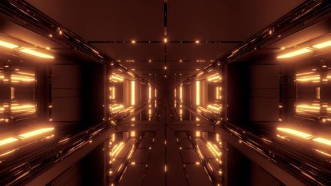 futuristic scifi space hangar tunnel corridor with glass bottom and windows 3d Animation