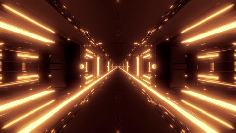 futuristic scifi space hangar tunnel corridor with hot metal 3d illustration Animation