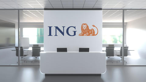 Logo of ING on a wall in the modern office, editorial conceptual 3D animation Live Action