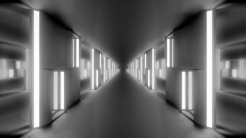 clean futuristic scifi tunnel corridor with glowing lights and glass windows 3d Animation