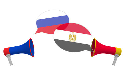 Flags of Egypt and Russia on speech bubbles with loudspeakers. Intercultural Live Action