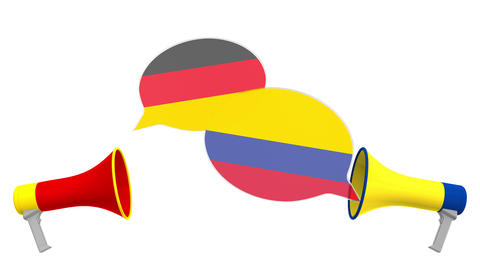 Flags of Colombia and Germany on speech bubbles with loudspeakers. Intercultural Live Action