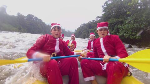 Santa Claus Rafting Team Preparing For Splash Live Action