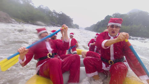 Fast Shot Of Santa Claus Team Rafting Hard Live Action