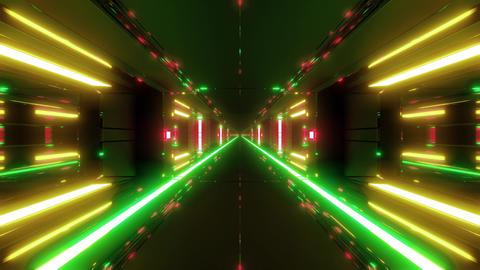 futuristic scifi space hangar tunnel corridor with hot metal 3d illustration Animation