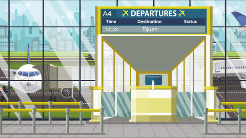 Flight to Tijuana on airport departure board. Trip to Mexico loopable cartoon Live Action