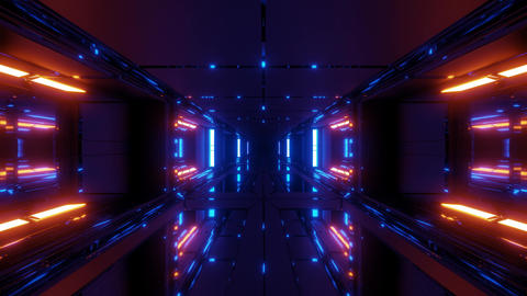 futuristic scifi space hangar tunnel corridor with glass bottom and windows 3d Animation