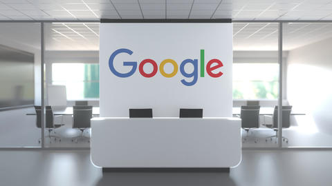 Logo of GOOGLE on a wall in the modern office, editorial conceptual 3D animation Live Action