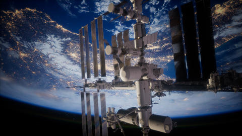 Earth and outer space station iss ビデオ