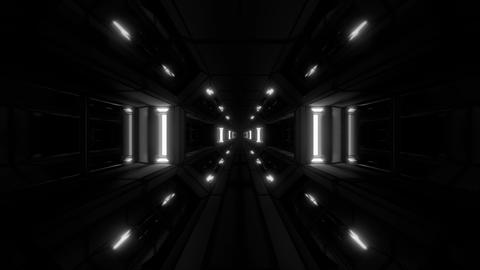 dark clean futuristic scifi space hangar tunnel corridor with cool reflecting Animation