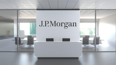 Logo of JPMORGAN on a wall in the modern office, editorial conceptual 3D Live Action