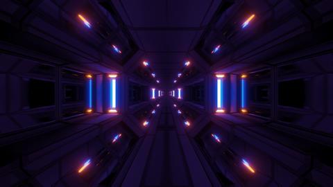 dark clean futuristic scifi space hangar tunnel corridor with cool reflecting Animation