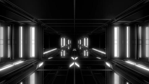 clean futuristic scifi space hangar tunnel corridor with glass windows 3d Animation