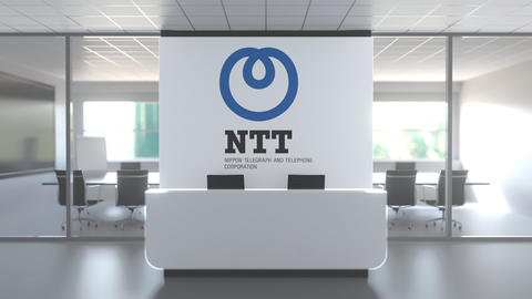 Logo of NTT on a wall in the modern office, editorial conceptual 3D animation Live Action