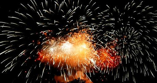 golden abstract blinking sparkle celebration fireworks lights on black background, festive happy new Footage