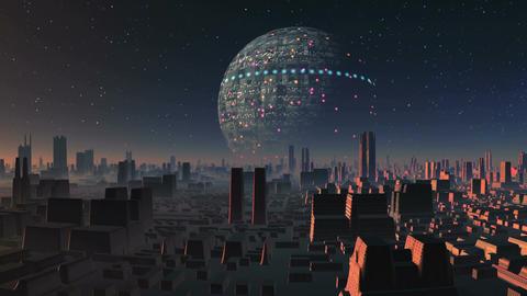 Huge UFO Over Alien City Animation