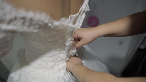Lacing wedding dress Footage